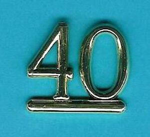 GOLD 40 NUMBERS/NUMERALS (Pack of 6) CAKE DECORATIONS / CARD Making