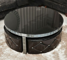 MODERN ROUND BLACK GLASS COFFEE TABLE MIRROR CENTRE PIECE LIVING ROOM FURNITURE