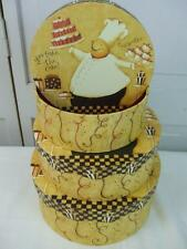 Set 3 Round Boxes Storage Chest Keepsake Take the Cake Celebrate French Chef