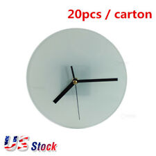 USA! 20pcs Sublimation Transfer Blank Glass Photo Frame with Glossy Round Clock