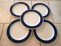 Lot of Five Porsgrund Norway Salad Plates Blue Border Yellow Trim