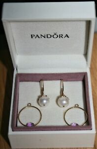 PANDORA COMPOSE 14K GOLD EARRINGS - 1 PAIR OF WIRES & TWO PAIRS OF CHARMS
