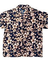 Vtg ODO USA Hawaiian Shirt Mens L Blue White Hibiscus Aloha Casual Button Down