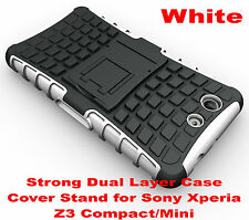 For Sony Xperia Z3 Compact White Heavy Duty Strong Tradesman TPU Hard Case Cover