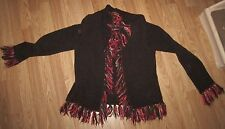 Women's Cato Brown With Fringe Open Front Sweater - Size Large