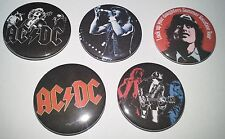 5 AC/DC button badges Back in Black Highway to Hell For Those About to Rock
