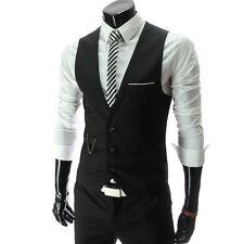 Mens Suit Vest Formal Business Wedding Party Tuxedo Waistcoat Jacket Coat Top XL