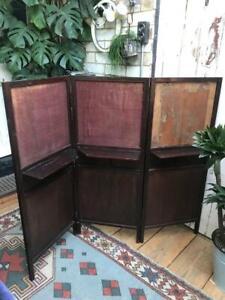 Antique Victorian or Edwardian mahogany folding screen