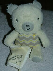"""Hallmark Teddy Bear Children Are A Gift From The Lord Plush Cream Gray 9"""""""