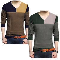 Men's Fashion Casual Knitwear Coat Tops V Neck Fashion Knit Sweater Pullover
