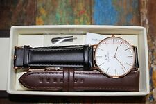 Daniel Wellington Classic Sheffield (Black) w/ Italian Calfskin Strap (Brown)