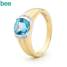 New Blue Topaz and Diamond 9k 9ct Solid Yellow Gold Dress Ring Size P