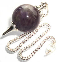 Amethyst Dowsing Pendulum Ball Sphere Crystal Scrying Radiesthesia Shew Stone