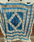 Antique+Vintage+Blue+Silk+%26+Lace+Bedspread+Coverlet+w+Pillow+Bolster+Cover