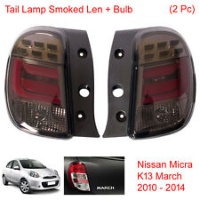 Tail Light Lamp Smoked Len + Bulb 2 Pc Fit Nissan Micra K13 March 2010 - 2014