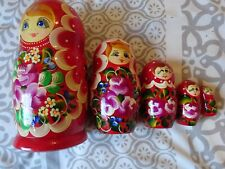 5 Vintage Wooden Russian Hand Painted Dolls--FREE POSTAGE