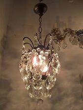 "Antique Vnt French Cage Style Czech Crystal Chandelier Lamp Light 1940s 8"" dmt"