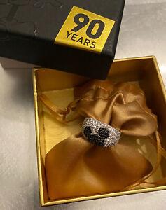 NIP!! Sz 8 Disney Hidden Mickey Ears Icon Sterling Silver Black Spinel Ring QVC