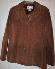 CLIO Suede Leather Solid Brown Hip Jacket Coat Button Front Medium Women Size 6