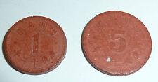 Notgeld Asiatika 2 Münzen Nominal 1 + 5 China oder Japan