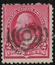 2v0382 Scott 220 US Stamp 1890 2c Washington Used Bullseye Cancel