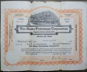 The Home Petroleum Corporation, Colorado, 1920 (100 Shares)