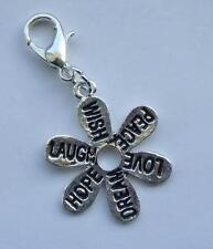 Inspirational word-wish,peace,love,dream,hope,laugh clip on charm