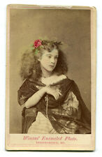 BEAUTIFUL YOUNG WOMAN. TINTED FLOWER IN HAIR. CDV. INDEPENDENCE, MO.
