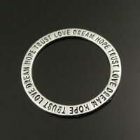 20pcs Vintage Silver Alloy Circle Ring Engraved Word Charms Pendants Findings