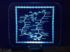 3D LED Isle of Man TT Engraved Acrylic  With Chain Border Perfect Christmas Gift