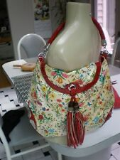 VINTAGE ENVELOPE Bag with Flowers with RED TOTE & TUSSLES STRAP  AND TRIM