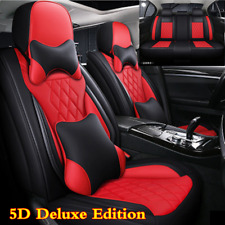 Luxury Black/Red PU Leather Car Seat Cover 5 Seats SUV Front+Rear Seat Cushions