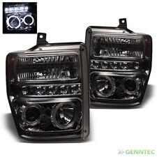 For Smoked 08-10 F250 F350 F450 Super Duty Halo LED Pro Headlights Head Lights