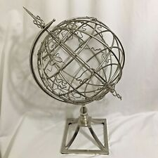 World Globe Decorative Metal Steel Wire Tabletop Stand Rotates