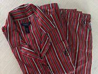 Chaps Women's Red Black Stripe Silky Satin Menswear Boyfriend Pajamas X L