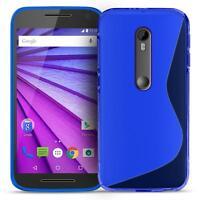 Handy Hülle Motorola Moto G3 Ultra Slim Case Silikon Cover Schutz Tasche Blau