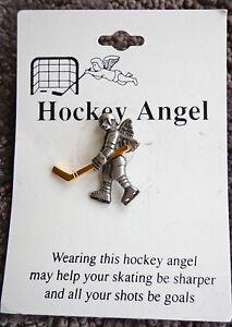 ICE HOCKEY ANGEL LAPEL PIN Ice Hockey Player w/Stick NHL Neck Tie Tack Tac Pin