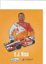 "2013 INDY 500 EJ VISO VENEZUELA ANDRETTI AUTOSPORT INDYCAR 8""X10"" HERO CARD"