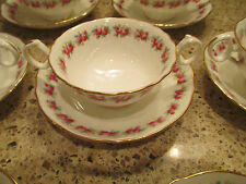 Cauldon 10 two handled bullion cups and saucer/bowls