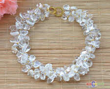 """clean massive crystal necklace S1416 3row 17"""" 14mm baroque"""