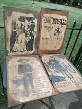 Vintage Cowboy Western Outlaw Mexico Wood Decoupage Plaque Set Old Wanted Poster