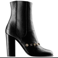 $1595 NIB CHANEL Black Leather Dallas Charms Bootie Boots CC Star Coin 41 8.5 9