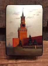 Vintage Soviet Russian Fedoskino Lacquer Box Moscow Kremlin Spasskaya Tower