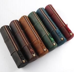 Retro Men Crazy Horse Leather Pen Bag Boys Tool Pencil Zipper Pouch Travel Cases
