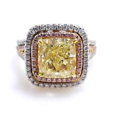 5.24ct Natural Argyle 6pp Fancy Yellow & Pink Diamonds GIA Engagement Ring 18K