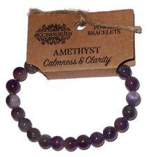 Amethyst Power Bracelet calme & clarté Wicca Crystal Healing Gemstone
