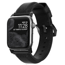 NOMAD Modern Leather Strap for Apple Watch 42mm BLACK w/ Black Steel Clasp $70