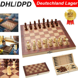 Schach Brett Dame Backgammon Set Brettspiel spielesammlung Holz schachspiel DE