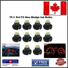 10 x RED T3 Neo Wedge led Bulbs - Instrument Cluster Light Panel Gauge Lamp SMD