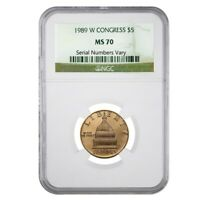 1989 W $5 Congress Commemorative Gold Coin NGC MS 70